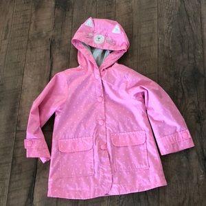 Carters Pink polkadot kitty raincoat. Like new